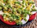 Рецепта Редена салата с домати, гъби и авокадо